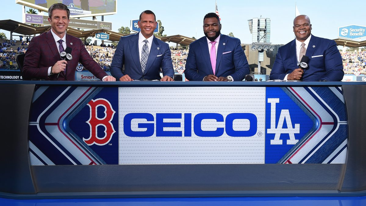 LOS ANGELES - OCTOBER 26:  Kevin Burkhardt, Alex Rodriguez, David Ortiz and Frank Thomas at the World Series on Fox - Game 3 - Boston Red Sox at Los Angeles Dodgers at Dodgers Stadium on October 26, 2018 in Los Angeles, California. (Photo by Frank Micelotta/Fox/PictureGroup)