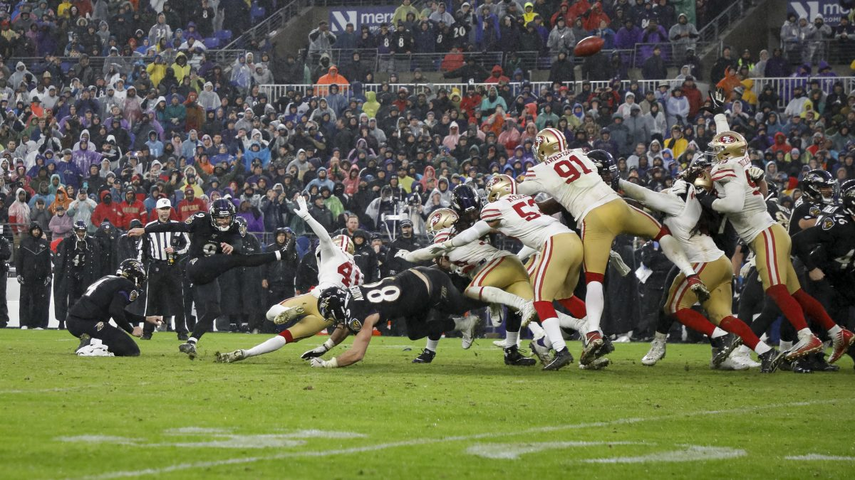 BALTIMORE, MD - DECEMBER 01: Justin Tucker #9 of the Baltimore Ravens kicks the game winning field goal against the San Francisco 49ers in the second half at M&T Bank Stadium on December 1, 2019 in Baltimore, Maryland. (Photo by Scott Taetsch/Getty Images)