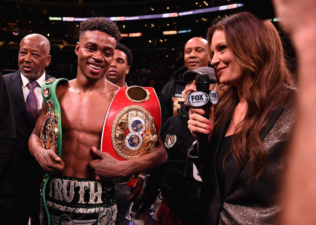 LOS ANGELES - SEPTEMBER 28: Errol Spence Jr. and Heidi Androl after his fight against Shawn Porter on the Fox Sports PBC Pay-Per-View fight night on September 28, 2019 in Los Angeles, California. (Photo by Frank Micelotta/Fox Sports/PictureGroup)