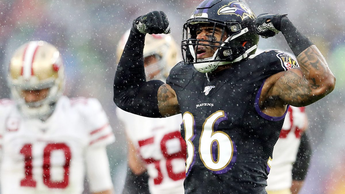 BALTIMORE, MARYLAND - DECEMBER 01: Chuck Clark #36 of the Baltimore Ravens celebrates during the first half against the San Francisco 49ers at M&T Bank Stadium on December 01, 2019 in Baltimore, Maryland. (Photo by Patrick Smith/Getty Images)