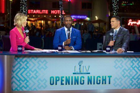 Charissa Thompson, Michael Vick and Tony Gonzalez at Super Bowl Opening Night