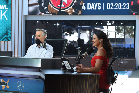 Colin Cowherd and Joy Taylor at FOX Sports South Beach Studio