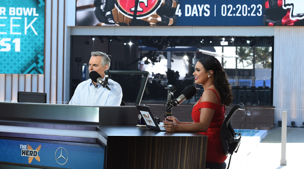 Colin Cowherd and Joy Taylor at Super Bowl LIV
