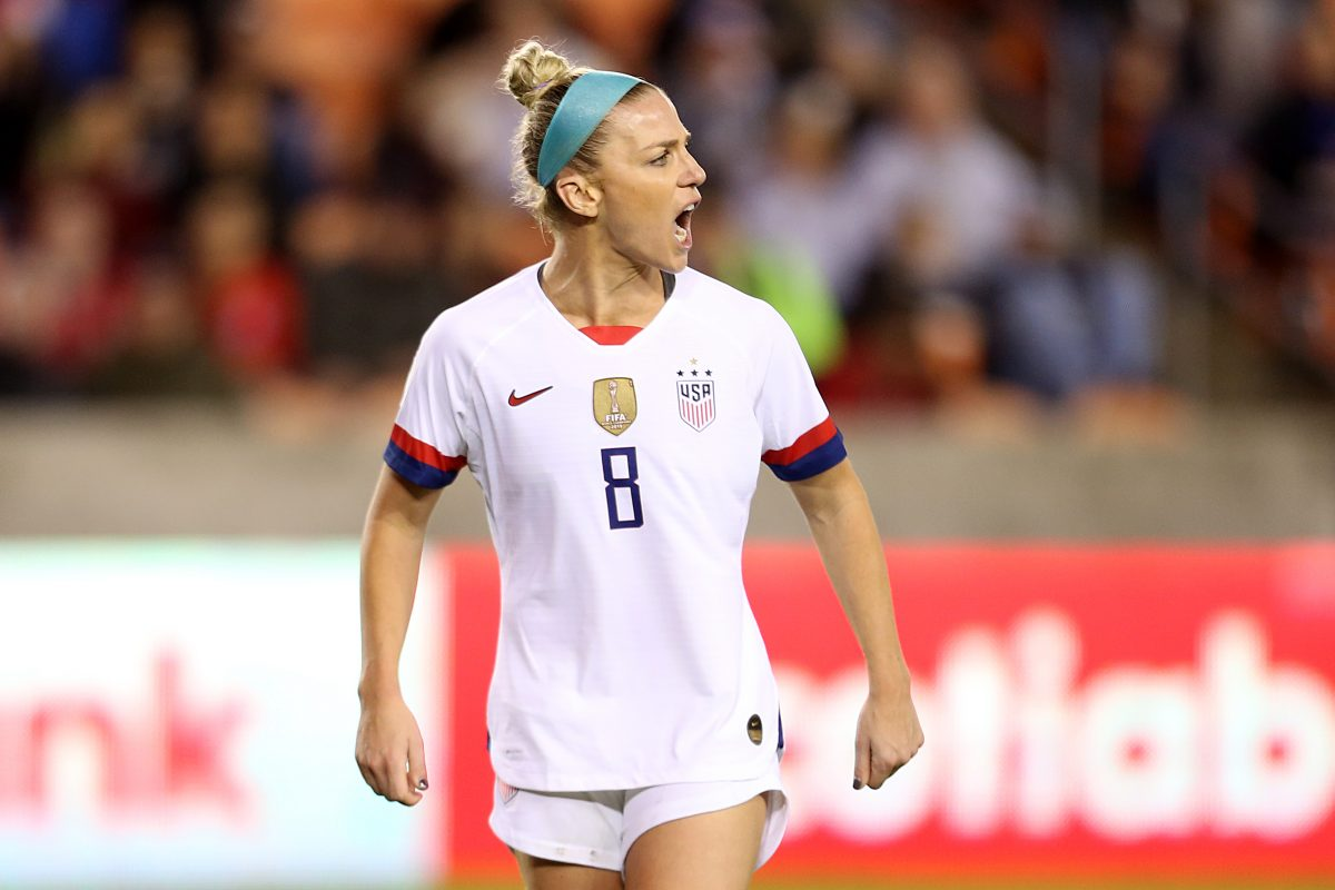 HOUSTON, TX - JANUARY 28: Julie Ertz #8 of USA reacts during the group A game between United States and Haiti as part of the CONCACAF Women's Olympic Qualifying at BBVA Compass Stadium on January 28, 2020 in Houston, Texas.  (Photo by Omar Vega/Getty Images)