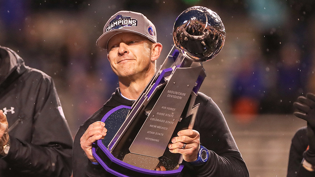 BOISE, ID - DECEMBER 7: Head Coach Brian Harsin of the Boise State Broncos celebrates at the conclusion of the Mountain West Championship against the Hawaii Rainbow Warriors on December 7, 2019 at Albertsons Stadium in Boise, Idaho. Boise State won the game 31-10. (Photo by Loren Orr/Getty Images)