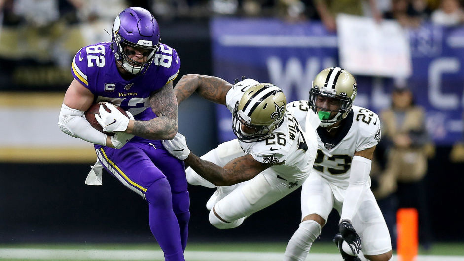 NEW ORLEANS, LOUISIANA - JANUARY 05: Kyle Rudolph #82 of the Minnesota Vikings makes a catch over P.J. Williams #26 of the New Orleans Saints in the NFC Wild Card Playoff game at the Mercedes Benz Superdome on January 05, 2020 in New Orleans, Louisiana. (Photo by Jonathan Bachman/Getty Images)