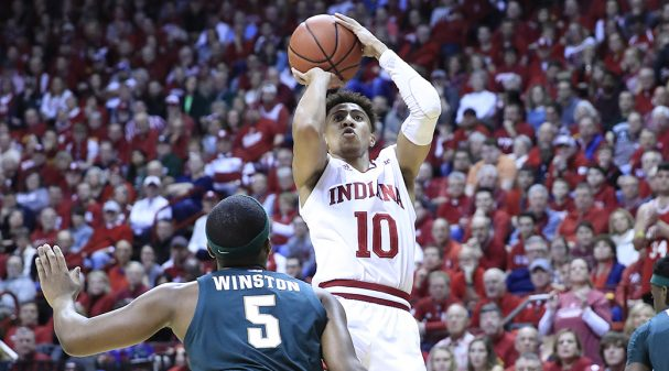 BLOOMINGTON, INDIANA - JANUARY 23:  Rob Phinisee #10 of the Indiana Hoosiers shoots the ball against the Michigan State Spartans at Assembly Hall on January 23, 2020 in Bloomington, Indiana. (Photo by Andy Lyons/Getty Images)