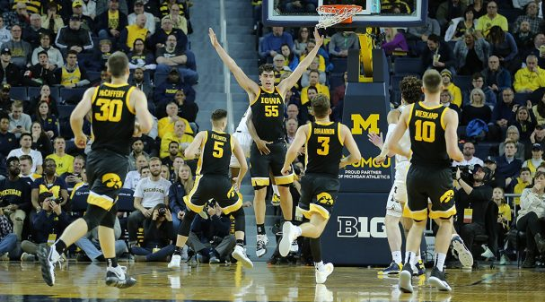ANN ARBOR, MI - DECEMBER 6: Luka Garza #55 of the Iowa Hawkeyes defends during the second half of the game against the Michigan Wolverines at Crisler Center on December 6, 2019 in Ann Arbor, Michigan. Michigan defeated Iowa 103-91. (Photo by Leon Halip/Getty Images)