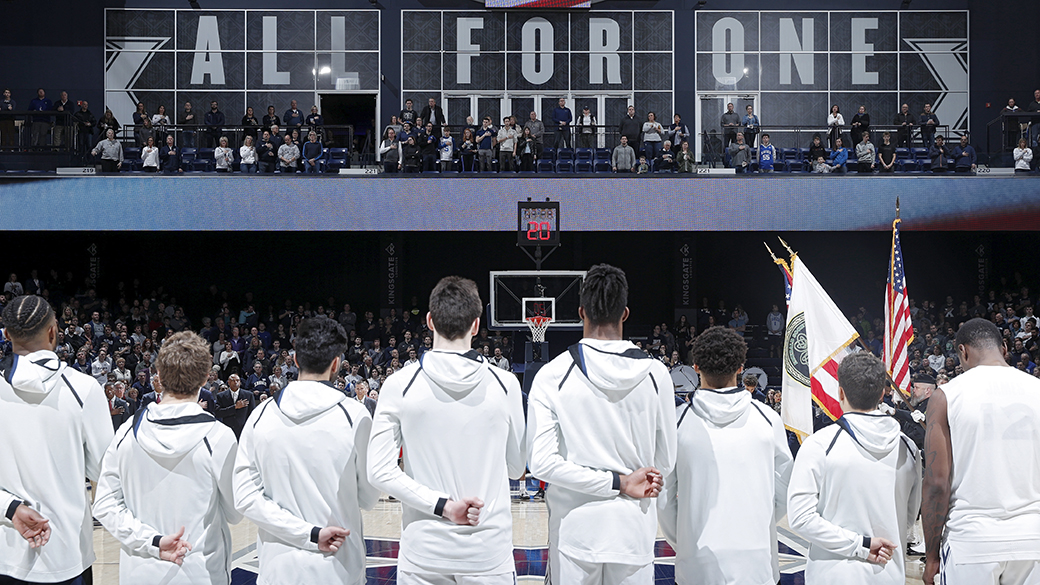 CINCINNATI, OH - JANUARY 05: Xavier Musketeers players line up for the national anthem prior to the game against the St. John's Red Storm at Cintas Center on January 5, 2020 in Cincinnati, Ohio. Xavier defeated St. John's 75-67. (Photo by Joe Robbins/Getty Images)