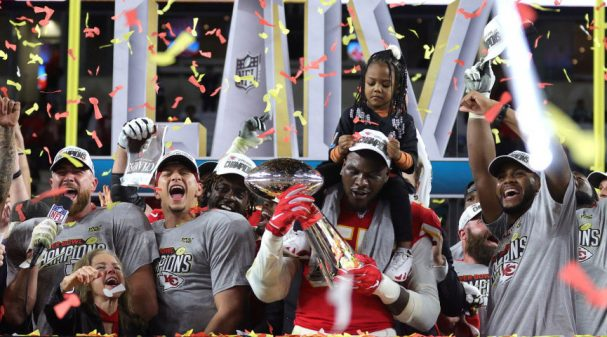 MIAMI, FLORIDA - FEBRUARY 02: Patrick Mahomes #15 of the Kansas City Chiefs celebrates after defeating the San Francisco 49ers 31-20 in Super Bowl LIV at Hard Rock Stadium on February 02, 2020 in Miami, Florida. (Photo by Jamie Squire/Getty Images)