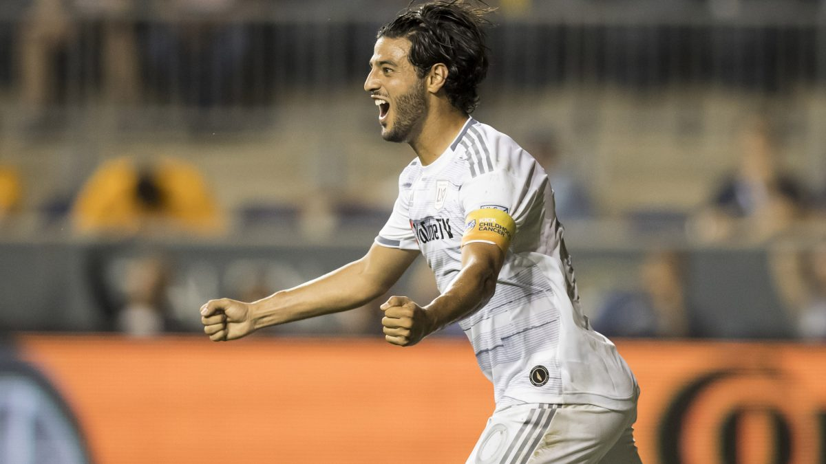 CHESTER, PA- SEPTEMBER 14: Carlos Vela #10 of LAFC celebrates the goal to equalize the score in the 1st half  of the Major League Soccer match between LAFC and Philadelphia Union. The match was held at Talen Energy Stadium in Chester, PA on September 14, 2019, USA. (Photo by Ira L. Black/Corbis via Getty Images)