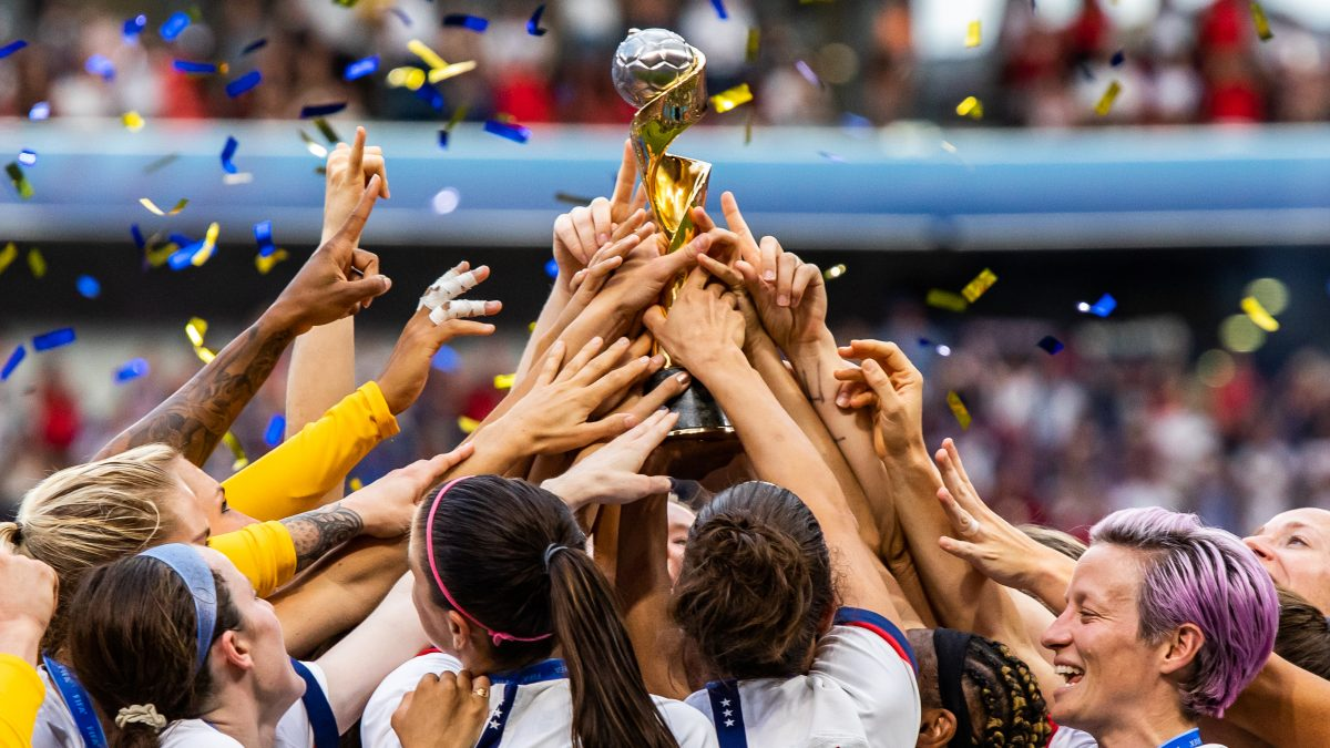 STADE DE LYON, LYON, FRANCE - 2019/07/07: USA women's national team celebrating with trophy after the 2019 FIFA Women's World Cup Final match between The United States of America and The Netherlands at Stade de Lyon. (Final score; USA - Netherlands 2:0). (Photo by Mikoaj Barbanell/SOPA Images/LightRocket via Getty Images)