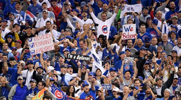 CLEVELAND, OH - NOVEMBER 02:  Chicago Cubs fans celebrate after the Cubs defeated the Cleveland Indians 8-7 in Game Seven of the 2016 World Series at Progressive Field on November 2, 2016 in Cleveland, Ohio. The Cubs win their first World Series in 108 years.  (Photo by Jason Miller/Getty Images)
