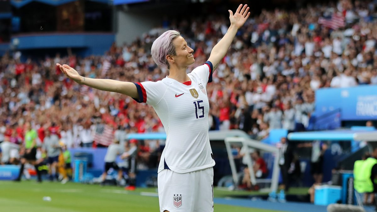 PARIS, FRANCE - JUNE 28:  Megan Rapinoe of the USA celebrates after scoring her team's first goal during the 2019 FIFA Women's World Cup France Quarter Final match between France and USA at Parc des Princes on June 28, 2019 in Paris, France. (Photo by Elsa/Getty Images)
