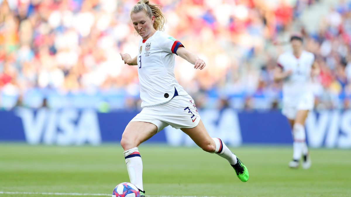 LYON, FRANCE - JULY 07: Sam Mewis of the USA clears the ball downfield during the 2019 FIFA Women's World Cup France Final match between The United State of America and The Netherlands at Stade de Lyon on July 07, 2019 in Lyon, France. (Photo by Maddie Meyer - FIFA/FIFA via Getty Images)