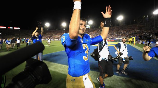 PASADENA, CA - SEPTEMBER 03:  Josh Rosen #3 of the UCLA Bruins reacts to defeating Texas A&M Aggies 45-44 in a game at the Rose Bowl on September 3, 2017 in Pasadena, California.  (Photo by Sean M. Haffey/Getty Images)