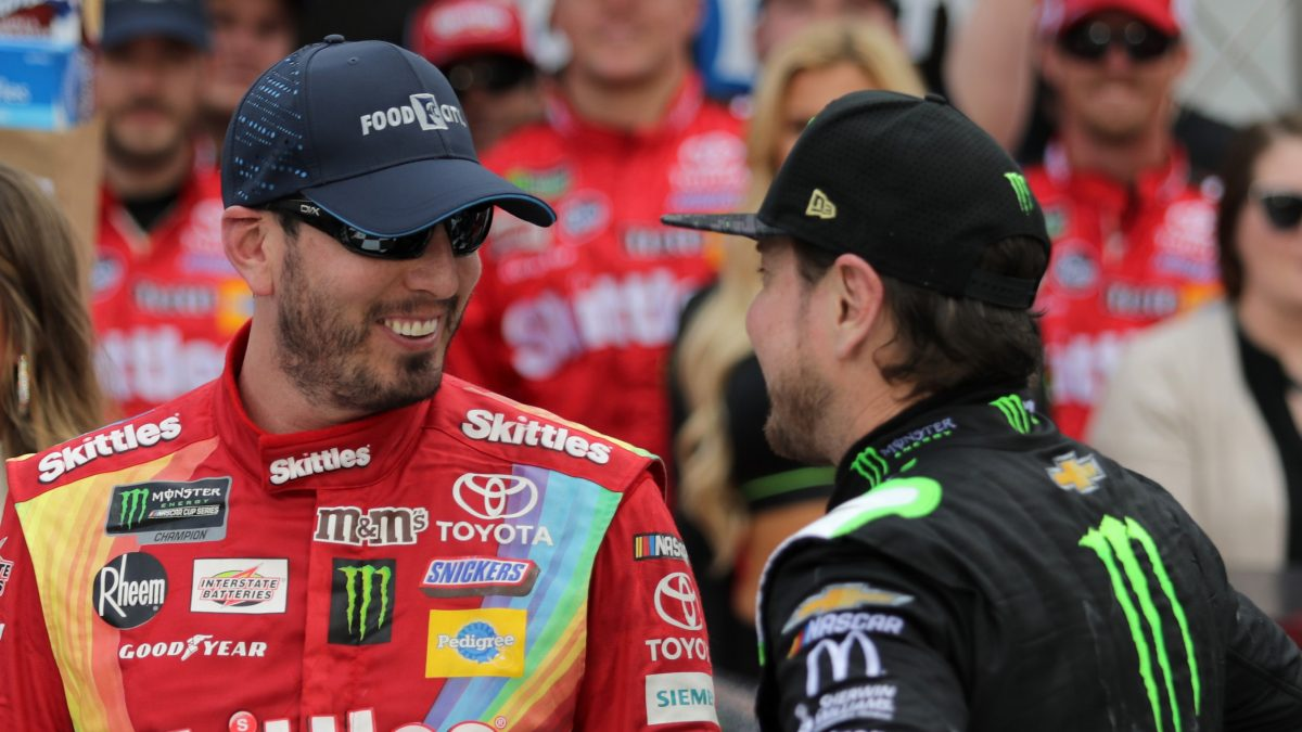 BRISTOL, TN - APRIL 07:  Kurt Busch, driver of the #1 Monster Energy Chevrolet, congratulates Kyle Busch, driver of the #18 Skittles Toyota, in Victory Lane after winning the Monster Energy NASCAR Cup Series Food City 500 at Bristol Motor Speedway on April 7, 2019 in Bristol, Tennessee.  (Photo by Donald Page/Getty Images)