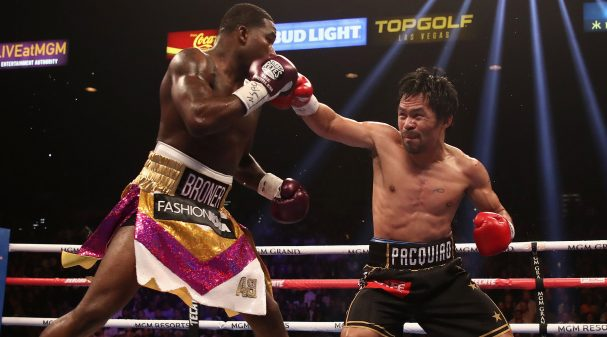 LAS VEGAS, NEVADA - JANUARY 19:  Manny Pacquiao (R) throws a right on Adrien Broner during the WBA welterweight championship at MGM Grand Garden Arena on January 19, 2019 in Las Vegas, Nevada. (Photo by Christian Petersen/Getty Images)