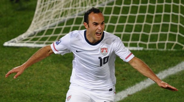 US midfielder Landon Donovan celebrates after scoring during their Group C first round 2010 World Cup football match on June 23, 2010 at Loftus Verfeld stadium in Tshwane/Pretoria. NO PUSH TO MOBILE / MOBILE USE SOLELY WITHIN EDITORIAL ARTICLE -  AFP PHOTO / HOANG DINH NAM (Photo credit should read HOANG DINH NAM/AFP via Getty Images)