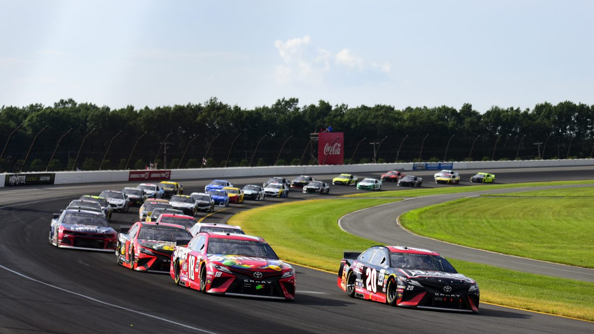 LONG POND, PENNSYLVANIA - JULY 28: Erik Jones, driver of the #20 Reser's Main St Bistro Toyota, leads the field during the Monster Energy NASCAR Cup Series Gander RV 400 at Pocono Raceway on July 28, 2019 in Long Pond, Pennsylvania. (Photo by Jared C. Tilton/Getty Images)