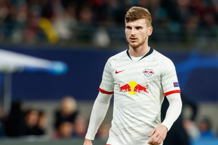 LEIPZIG, GERMANY - MARCH 10: (BILD ZEITUNG OUT) Timo Werner of RB Leipzig looks on during the UEFA Champions League round of 16 second leg match between RB Leipzig and Tottenham Hotspur at Red Bull Arena on March 10, 2020 in Leipzig, Germany. (Photo by Roland Krivec/DeFodi Images via Getty Images)