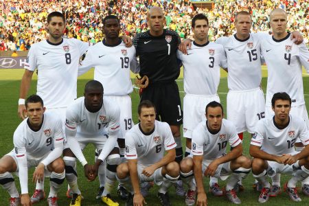PRETORIA, SOUTH AFRICA - JUNE 23:  The USA team line up ahead of the 2010 FIFA World Cup South Africa Group C match between USA and Algeria at the Loftus Versfeld Stadium on June 23, 2010 in Tshwane/Pretoria, South Africa.  (Photo by Martin Rose/Getty Images)