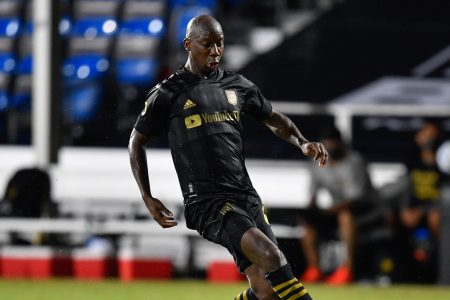 LAKE BUENA VISTA, FL - JULY 18: Bradley Wright-Phillips #66 of LAFC runs onto a pass during a game between Los Angeles Galaxy and Los Angeles FC at ESPN Wide World of Sports on July 18, 2020 in Lake Buena Vista, Florida. (Photo by Roy K. Miller/ISI Photos/Getty Images).
