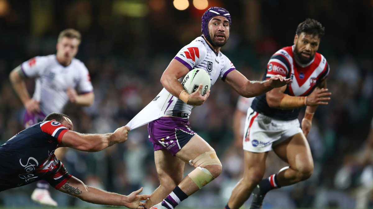 SYDNEY, AUSTRALIA - SEPTEMBER 28: Jahrome Hughes of the Storm runs the ball during the NRL Preliminary Final match between the Sydney Roosters and the Melbourne Storm at the Sydney Cricket Ground on September 28, 2019 in Sydney, Australia. (Photo by Brendon Thorne/Getty Images)