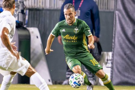 ORLANDO, FL - JULY 13: Portland Timbers midfielder Sebastian Blanco (10) makes a run during the MLS Is Back Tournament between the LA Galaxy v Portland Timbers on July 13, 2020 at the ESPN Wide World of Sports, Orlando FL. (Photo by Andrew Bershaw/Icon Sportswire via Getty Images)