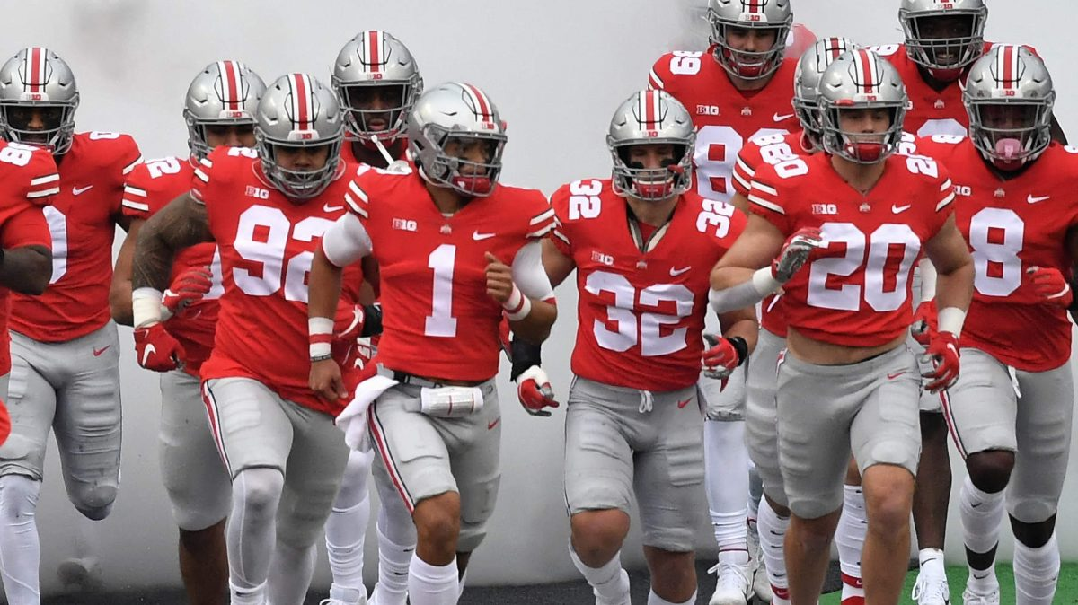 COLUMBUS, OH - NOVEMBER 21:  The Ohio State Buckeyes take the field for a game against the Indiana Hoosiers at Ohio Stadium on November 21, 2020 in Columbus, Ohio.  (Photo by Jamie Sabau/Getty Images) *** Local Caption ***