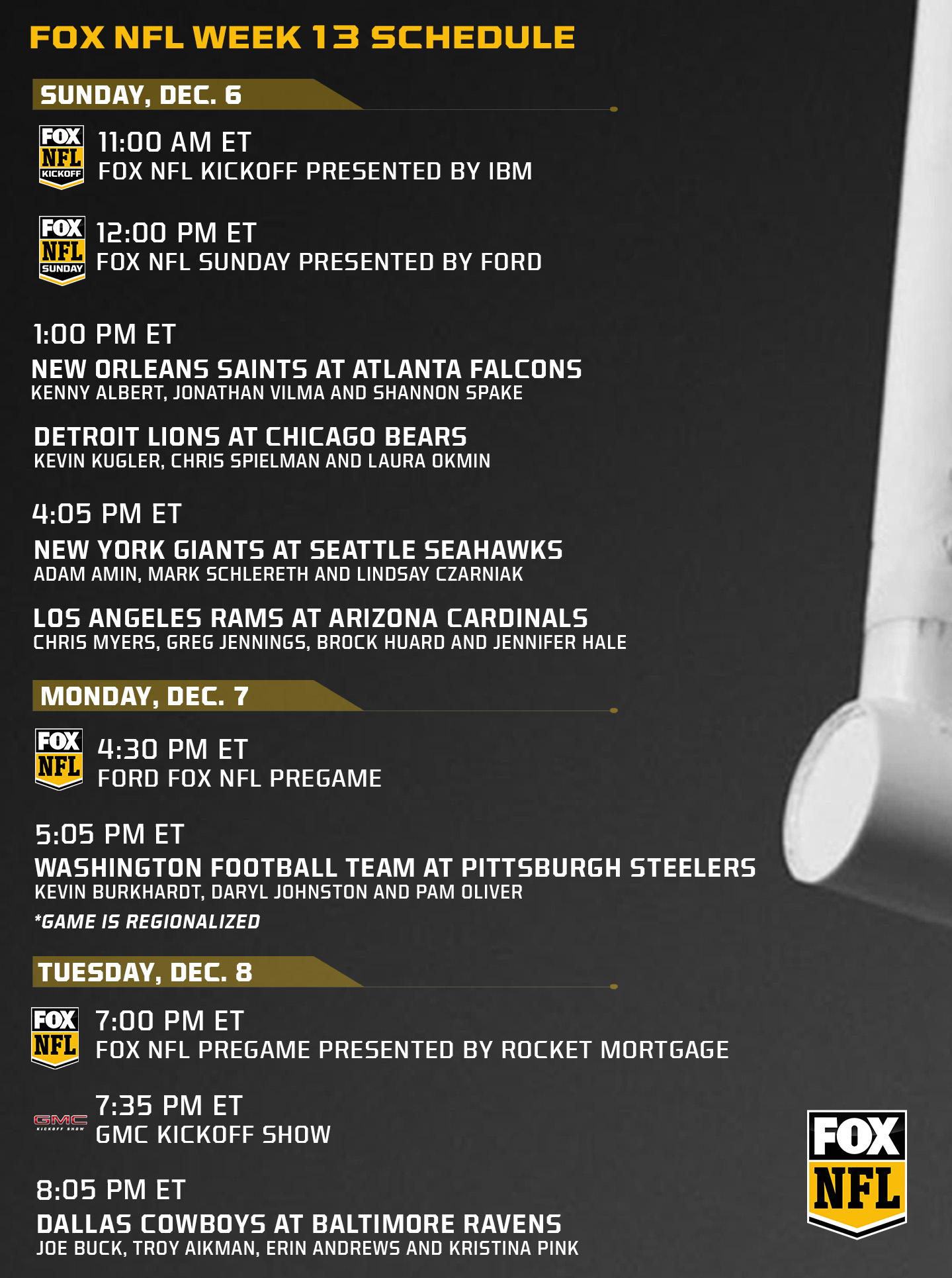 Fox Nfl Week 13 Schedule And Regionalization Fox Sports Presspass