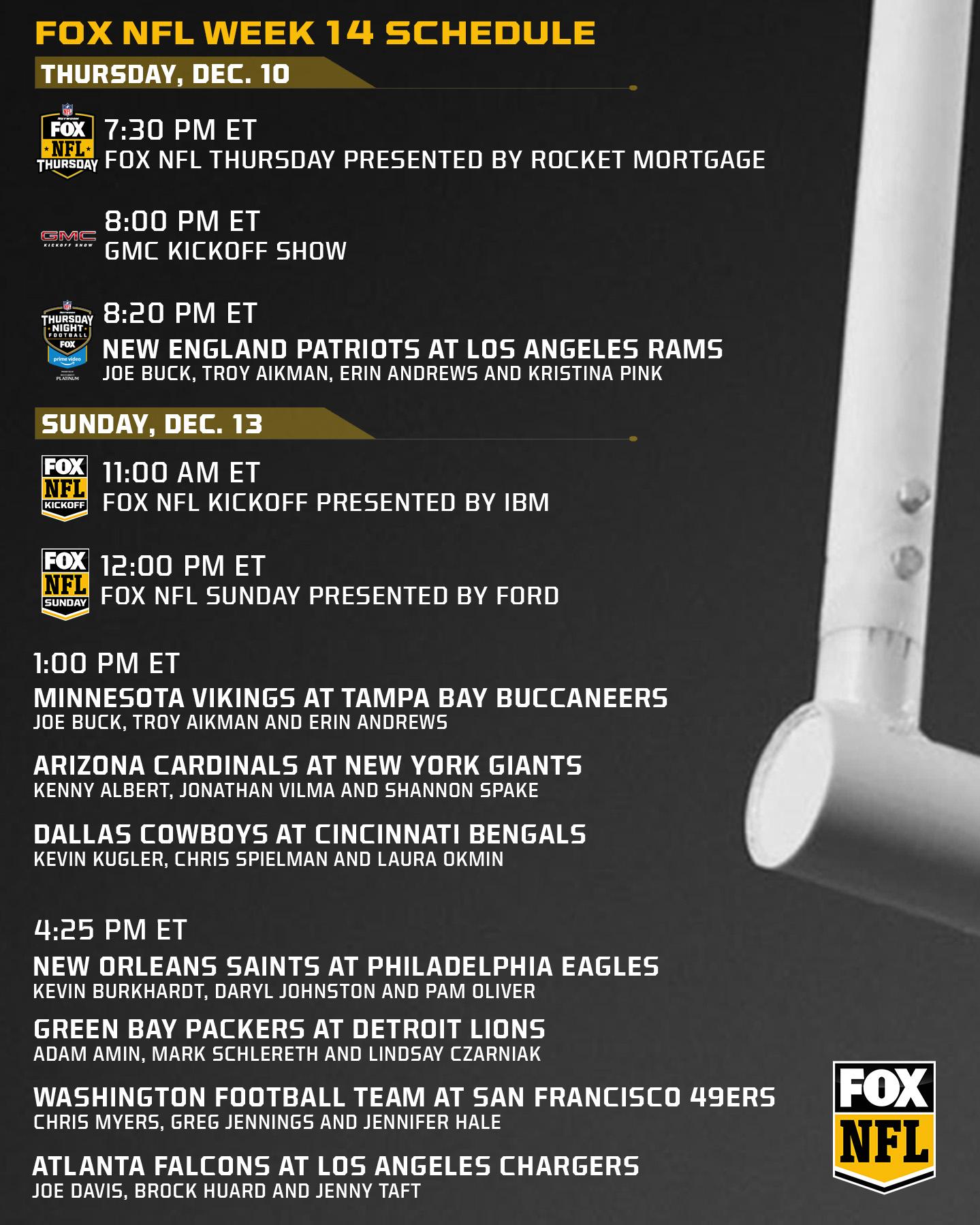 Fox Nfl Week 14 Schedule And Regionalization Fox Sports Presspass