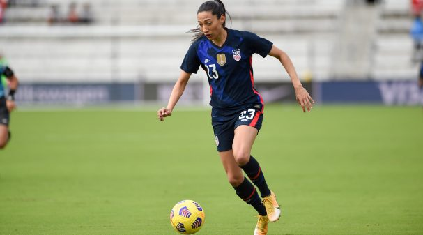 ORLANDO CITY, FL - FEBRUARY 21: Christen Press #23 of the Unites States dribbles with the ball during a game between Brazil and USWNT at Exploria Stadium on February 21, 2021 in Orlando City, Florida. (Photo by Jeremy Reper/ISI Photos/Getty Images)