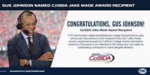 Gus Johnson CoSIDA Jake Wade Award