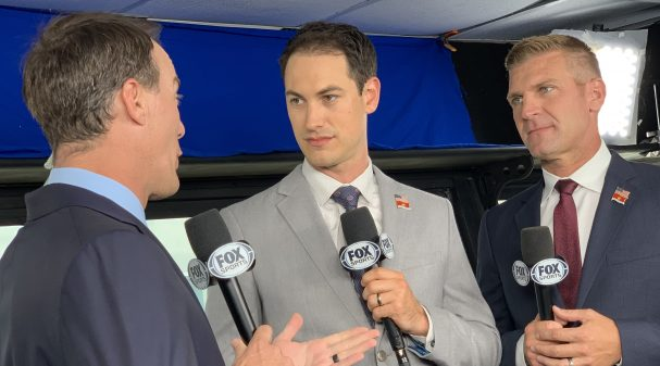 Harvick Logano Bowyer in Drivers Only Charlotte 2019 booth 1_1040X585