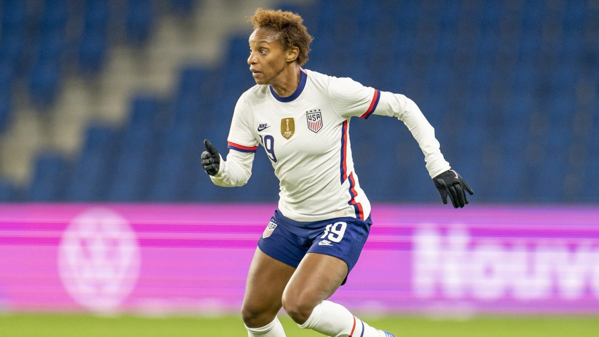 LE HAVRE, FRANCE - APRIL 13: Crystal Dunn #19 of the USWNT dribbles during a game between France and USWNT at Stade Oceane on April 13, 2021 in Le Havre, France. (Photo by Brad Smith/ISI Photos/Getty Images)