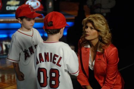 At the Make-A-Wish PSA shoot, wish kid Daniel and his cousin Sammy talk to MLB on FOX studio host Jeanne Zelasko about Daniel's wish to meet the Angels.